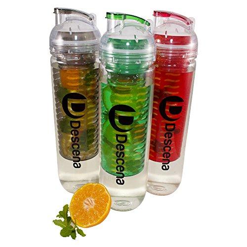 Descena 3 Tritan-Flasche mit Fruchteinsatz, Trinkflasche aus Tritan, 900 ml Fassungsvermögen (BPA frei), zufällige Farblieferung -