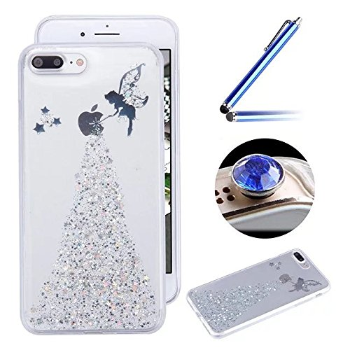 Etsue Custodia iPhone 7 Plus Trasparente,Colorate Dipinto Modello Con Disegni,iPhone 7 Plus Cover in Silicone Tpu Flessible Sottile Antiscivolo e Antigraffio Protettivo Cover Bumper Case Per iPhone 7  Silver