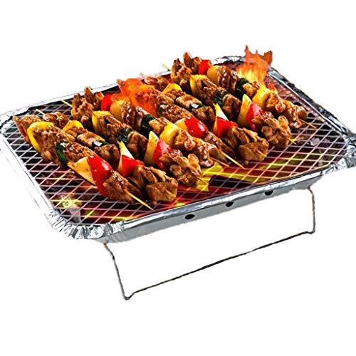 Einweg Backofen im Freien bequem mit Kohleofen Grill Wandern Picknicks Tailgating BBQ Kochen,Silver