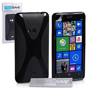 Yousave Accessories X-Ligne Coque en silicone gel pour Nokia Lumia 625 Noir
