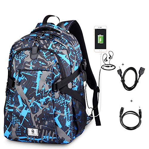 FPTB Laptop Rucksack 15,6 Zoll wasserdichte wandertasche Abdeckung net Basketball Rucksack USB Lade Port Schule Daypack für männer, Frauen, Oxford Tuch (3 Farben),Color