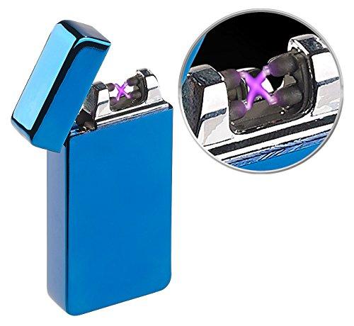 PEARL Lichtbogenfeuerzeug: Elektronisches Feuerzeug mit doppeltem Lichtbogen, Akku, USB, blau (Feuerzeug mit Plasma-Lichtbogen)