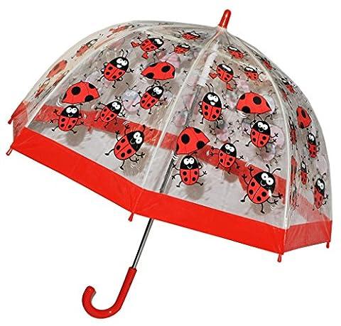 Regenschirm - Marienkäfer - Kinderschirm / transparent Ø 70 cm - Kinder Stockschirm - für Mädchen Jungen Schirm Kinderregenschirm / Glockenschirm Käfer Punkte rot durchsichtig &