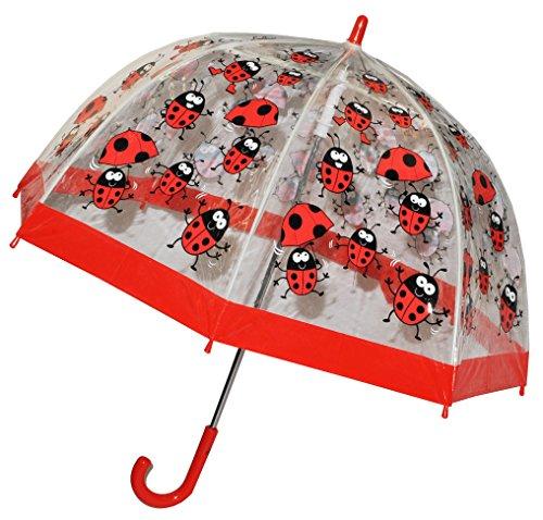Regenschirm - Marienkäfer - Kinderschirm / transparent Ø 70 cm - Kinder Stockschirm - für Mädchen Jungen Schirm Kinderregenschirm / Glockenschirm Käfer Punkte rot durchsichtig & durchscheinend