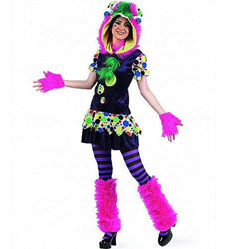 Gute Laune Monster Kostüm Damen 4-teilig Kleid mit Zubehör - (Kostüme Für Gute Männer)