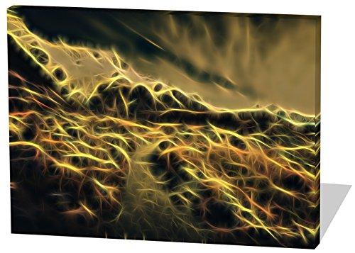 On The Mountains, Light Effect, schönes und hochwertiges Leinwandbild zum Aufhängen in XXL - 120cm x 80cm, echter Holzrahmen, effektiver Pigmentdruck, modernes Design für Ihr Büro oder Zimmer (Rocky-film T-shirts)