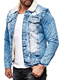 Red Bridge Herren Jeansjacke Sherpa Denim gefüttert Jacke Herbst Winter Jeans Blue Denim Blau Original (Blau, M)