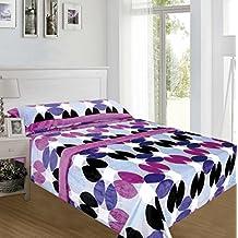 ForenTex - Juegos de sábanas, (MS-4016), Circulos Morado, cama 90 cm, Lilas, con tacto seda de sedalina, nacarina, de 250 gr/m2, ultra suaves, exclusivas.