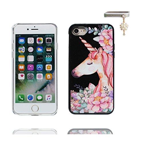 iPhone 6 Custodia, Glitter Glitter Flowing Safe / Case iPhone 6s Copertura / Shock Dust Resistant Shell iPhone 6 Cover e tappi antipolvere (gratis) / Cartoon orso bear Rosa