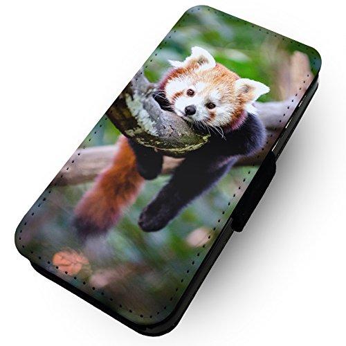 WTF | Lazy rot Panda | Kunstleder Flip-Telefon Fall |, Kunstleder, rot, HTC One M8 (Htc M8 Flip-telefon Fall)