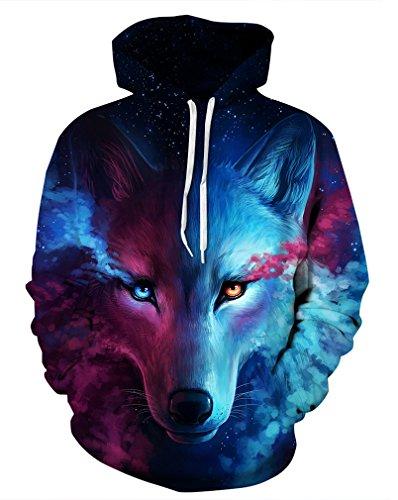 Leslady Unisex Herren Slim Fit 3D Druck Kapuzenpullover Kapuzen Sweatshirt Winter Hoodie Pullover(Large/X-Large, 5-Wolf) -