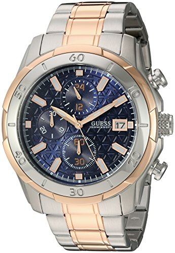GUESS Men's U0746G1 Sporty Rose Gold-Tone Stainless Steel Watch with Chronograph Dial and Deployment Buckle