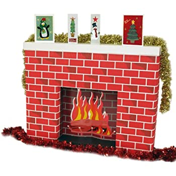 Corrugated Cardboard 3 dimensional life size Fireplace 965 x 175 x 762mm  supplied flatpack. Great Christmas accessory to a santa scene and festive  displays ...