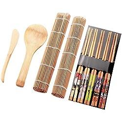 Ishua 13Pcs Kit Sushi, Kit per la preparazione di sushi di bambù, Gadget fatti in casa, per feste in famiglia
