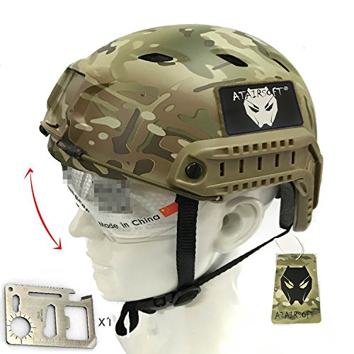 atairsoft SWAT Gefechtshelm Combat Fast Helm Bj Typ mit Goggle für Airsoft Paintball MultiCam MC (Kinder Swat Helm)