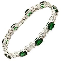 Idea Regalo - Gioielli ovali taglio verde pietre preziose smeraldo Fine CZ [18cm / 7inch] Tennis Infinity Braccialetto Semplice Moderno Elegante [Sacchetto di Gioielli Libero]