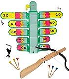 alles-meine.de GmbH XL Set: Zielscheibe - BEWEGLICH -  Vogel bunt  + Armbrust + 6 Stück Holzpfeile + Befestigungssystem - Stabiler Kunststoff - Vogelschießen - Bogenschießen /..