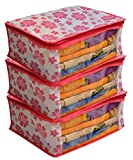 #8: Kuber Industries™ Non Woven Saree Cover Pink Floral Design Set of 3 Pcs