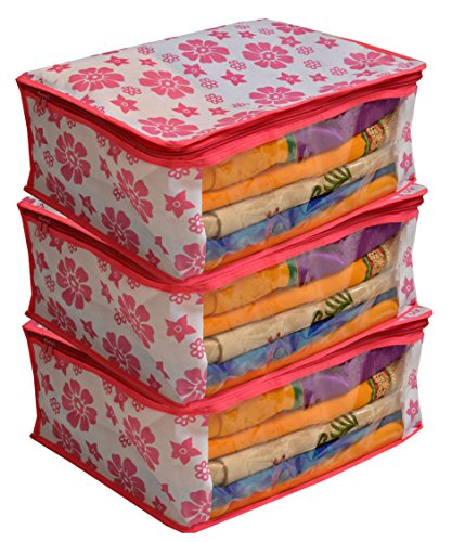 Kuber Industries 3 Piece Non Woven Saree Cover Set, Pink (NONWOV000NWSC01)