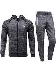 b673db529c3 AIRAVATA Homme Ensemble Pantalon de Sport Sweatshirt à Capuche Jogging  Survêtement