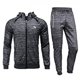 Airavata Homme Ensemble Pantalon de Sport Sweatshirt à capuche Jogging Survêtement - Gris6 - Medium
