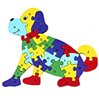 Millya Children Wooden Dog Shape Jigsaw Puzzle Alphabetic ABC and Number 123 Cognitive Puzzles Block Preschool Early Leaning Toys