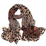 BESSKY Women es Leopard Print Little Silk Scarf Hair Tie Band Neckerchief Multi-Purpose Leopard-Print Polka Dot Chiffon Scarf