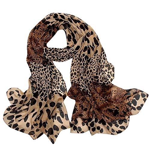 Schal Damen, LANSKIRT Leopard-Print für Damen mit kleinem Seidentuch Haargummiband Halstuch Mehrzweck 160cm x 60cm (Lingerie Print Leopard)