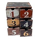 Rebecca Mobili Portagioielli con 6 cassetti, Cosmetic Organizer Stile Vintage, PVC, Marrone, per Ordine Trucchi Accessori - Misure: 30 x 24 x 15 cm (HxLxP) - Art. RE4772