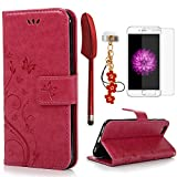 iPhone 6 / 6S Hülle (4,7 Zoll) Wallet Case Flip Hülle YOKIRIN Schmetterling Blumen Muster Schutzhülle PU Leder Brieftasche Ledertasche im Bookstyle für iPhone 6 6S Tasche Rose Rot