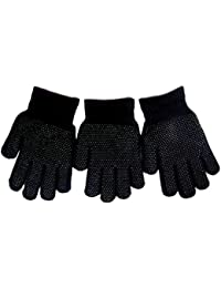 3 pairs of Unisex Magic Gloves With Palm Grip Thermal One Size Black