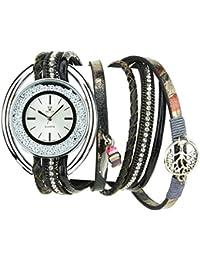 Bellos Damen-Armbanduhr Silber Quartz Gehäuse Stahl Analog Armband Kunstleder Doppel Tour braun