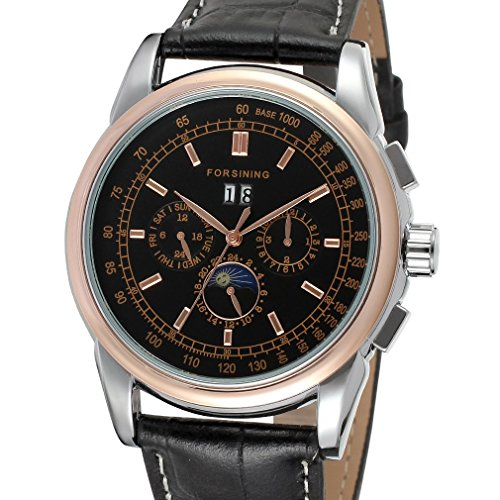 Forsining Men's High-end Automatic Moon Phase Leather Wrist Watch FSG319M3T3 (Crown Jewels Modeschmuck)