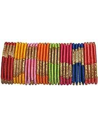 Beautiful Designer Glossy Multicolour Silk Thread Bangles Set For Women & Girls On Wedding & Festive Occasions