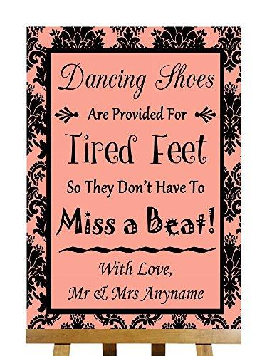 Dancing scarpe flip-flop piedi stanchi coral Damask Collection personalizzato stampato di nozze segno Large A3