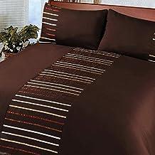 Just Contempo - Juego de funda nórdica y funda de almohada (poliéster), diseño a rayas, poliéster, marrón oscuro, funda de edredón doble King size