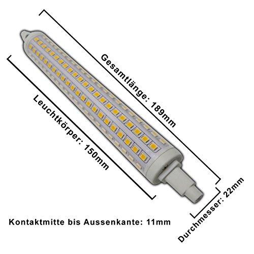 1x Große R7s LED Strahler 189mm 15 Watt dimmbar (BITTE Maße beachten!!!) rund 216x SMDs warmweiß Leuchtmittel Lampe Halogen j189 Fluter Standleuchte Brenner Scheinwerfer