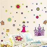 AdornHome Wandtattoo Wandsticker Wandaufkleber Wandbilder Cartoon Anime Zimmer Wand Dekoration Prinzessin Kinderzimmer Warm Schlafzimmer Niedlich Prinzessin Schloss 50 * 70cm