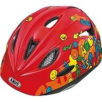 Abus Rookie Casco per bici da bambino, Rosso (Smiley red), 46-52 cm