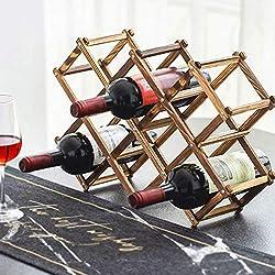 Étagère à vin en bois pour 10 bouteilles de vin pliable sur pied, meuble de cuisine, meuble de rangement rustique Traditionnelle 18.5 x 4.8 x 11.7 inches / 47 x 12.2 x 29.8 cm Carbonized Wood Color