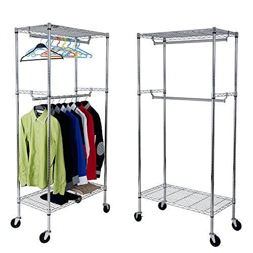 Yorbay Industrie Kleiderschrank 270kg rollbar mit Kleiderstange und Einlegeboden...
