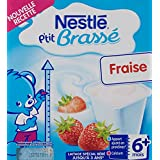 Nestlé Bébé P'tit Brassé Fraise - Laitâge dès 6 mois - 4 x 100g - Lot de 6 (24 coupelles de 100g)