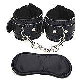 sexspielzeug Weiche bequeme PU-Pelz-Leder-Handschellen, Handfesseln und Augenmaske