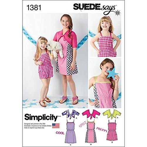 Simplicity Suede Says Muster 1381Mädchen Kleid, Strampler und Knit Cardigan Größen 7–44–12–14 (Mädchen Kleid Banded)