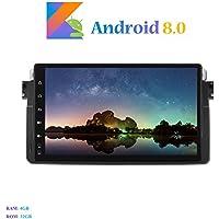 Hi-azul Android 8.0 Car Autoradio, Dash 8-Core 64Bit RAM 4G ROM 32G Car Radio 9 Zoll Autonavigation Kopfeinheit Car Audio für BMW 3 Series-E46/ M3 (Autoradio)