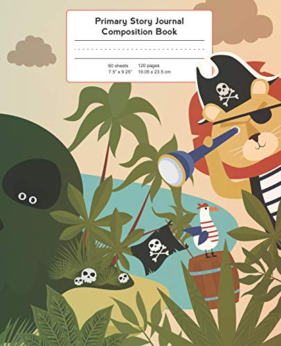 Primary Story Journal Composition Book: Pirate Island Notebook Grade Level K-2 Draw and Write, Early Childhood to Kindergarten (Primary Story Journals, Band 13) Monkey Booties