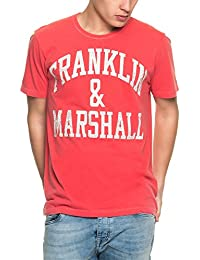 Franklin & Marshall Men's Men's Red T-Shirt With Print Cotton And Polyester