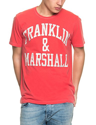 Franklin-Marshall-Mens-Mens-Red-T-Shirt-With-Print-in-Size-XXL-Red