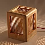 Holz Tischlampe Atmosphärenlampe Nachttischlampe retro schreibtischlampe weiß Massiv holz Lampenschirm für Kinderzimmer Schlafzimmer Wohnzimmer Esszimmer