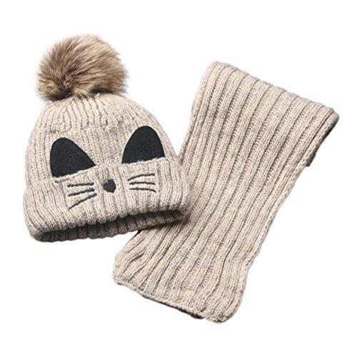 LuckyGirls Kinder Jungen Mädchen Stricken Baumwolle Ball Katzen Hüte + Schal Set (Beige)